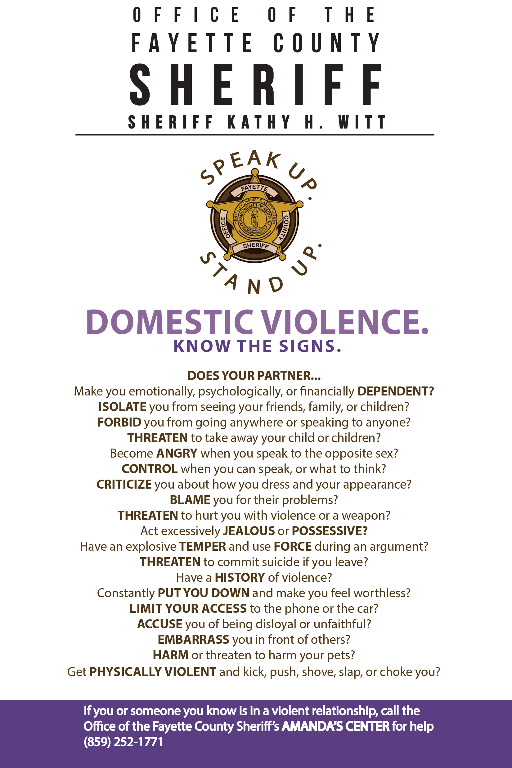 Domestic violence. Know the signs.